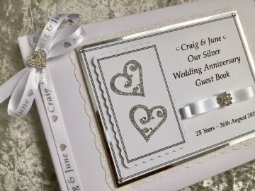 Personalised Silver Wedding Anniversary Guest Book